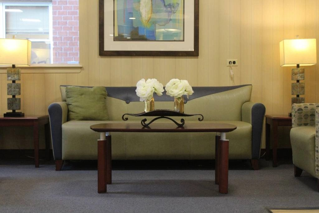Couch in lobby of Nassau Rehabilitation & Nursing Center